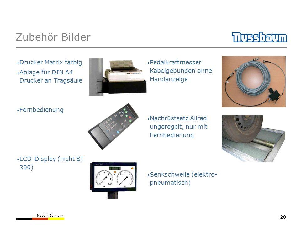 Made in Germany 20 Zubehör Bilder Drucker Matrix farbig Ablage für DIN A4 Drucker an Tragsäule Fernbedienung LCD-Display (nicht BT 300) Pedalkraftmess