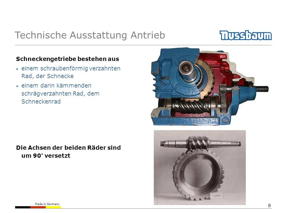 Made in Germany 9 Technische Ausstattung Antrieb Dadurch kann nur die Schnecke angetrieben werden, nicht aber das Schneckenrad.