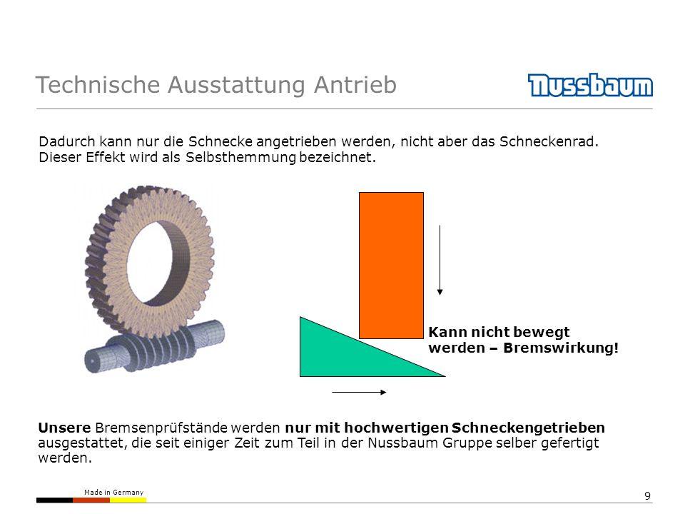 Made in Germany 10 Technische Ausstattung Antrieb Nussbaum verwendet kein Stirnradgetriebe, da eine Bremswirkung nur durch ein zusätzliches Bauteil erreicht werden kann; typischerweise durch eine elektromagnetische Bremse.