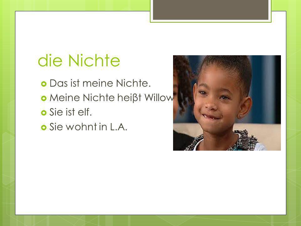 die Nichte Das ist meine Nichte. Meine Nichte heiβt Willow. Sie ist elf. Sie wohnt in L.A.