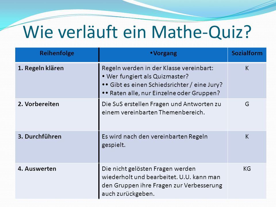 Wie verläuft ein Mathe-Quiz? Reihenfolge VorgangSozialform 1. Regeln klärenRegeln werden in der Klasse vereinbart: Wer fungiert als Quizmaster? Gibt e