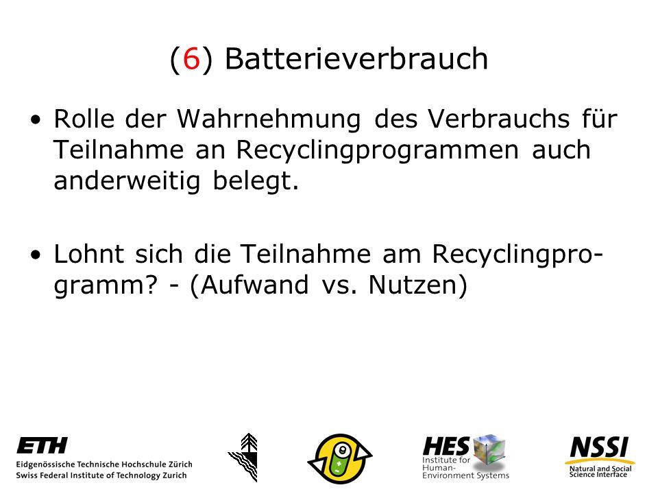 (6) Batterieverbrauch Rolle der Wahrnehmung des Verbrauchs für Teilnahme an Recyclingprogrammen auch anderweitig belegt.