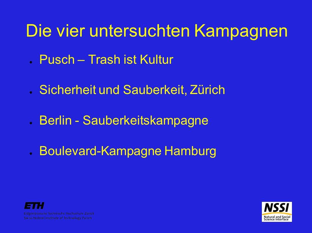 Diskussion Berlin: kreativ, witzig, nicht befehlend Trash ist Kultur: kreativ, nicht provokativ, nicht ermahnend, nicht befehlend Hamburg: provokativ, nicht befehlend, nicht klar verständlich ERZ: ermahnend, befehlend, klar verständlich, nicht witzig, nicht kreativ