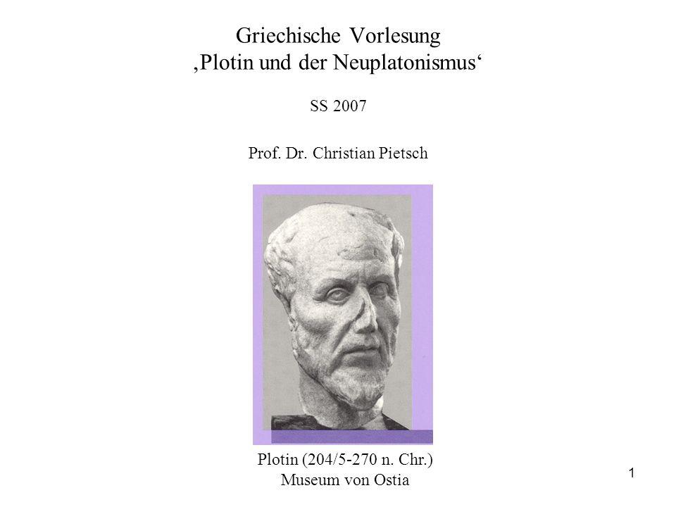 1 Griechische Vorlesung Plotin und der Neuplatonismus SS 2007 Prof. Dr. Christian Pietsch Plotin (204/5-270 n. Chr.) Museum von Ostia
