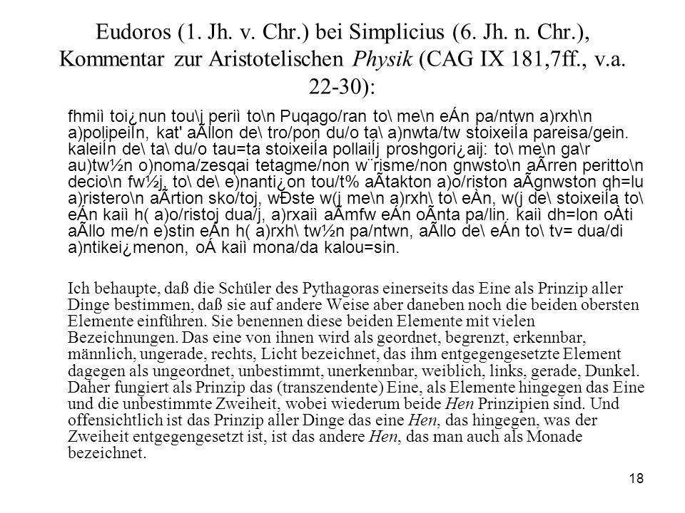 18 Eudoros (1. Jh. v. Chr.) bei Simplicius (6. Jh. n. Chr.), Kommentar zur Aristotelischen Physik (CAG IX 181,7ff., v.a. 22-30): fhmiì toi¿nun tou\j p