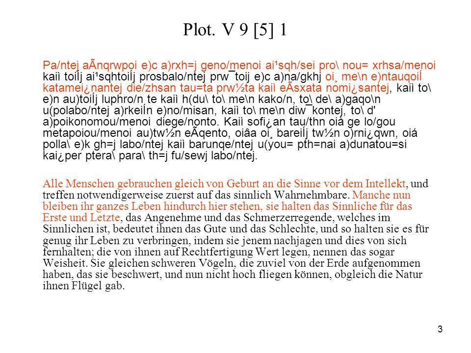 3 Plot. V 9 [5] 1 Pa/ntej aÃnqrwpoi e)c a)rxh=j geno/menoi ai¹sqh/sei pro\ nou= xrhsa/menoi kaiì toiÍj ai¹sqhtoiÍj prosbalo/ntej prw¯toij e)c a)na/gkh