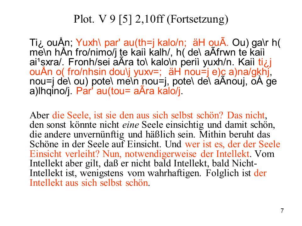 7 Plot. V 9 [5] 2,10ff (Fortsetzung) Ti¿ ouÅn; Yuxh\ par' au(th=j kalo/n; äH ouÃ. Ou) ga\r h( me\n hÅn fro/nimo/j te kaiì kalh/, h( de\ aÃfrwn te kaiì