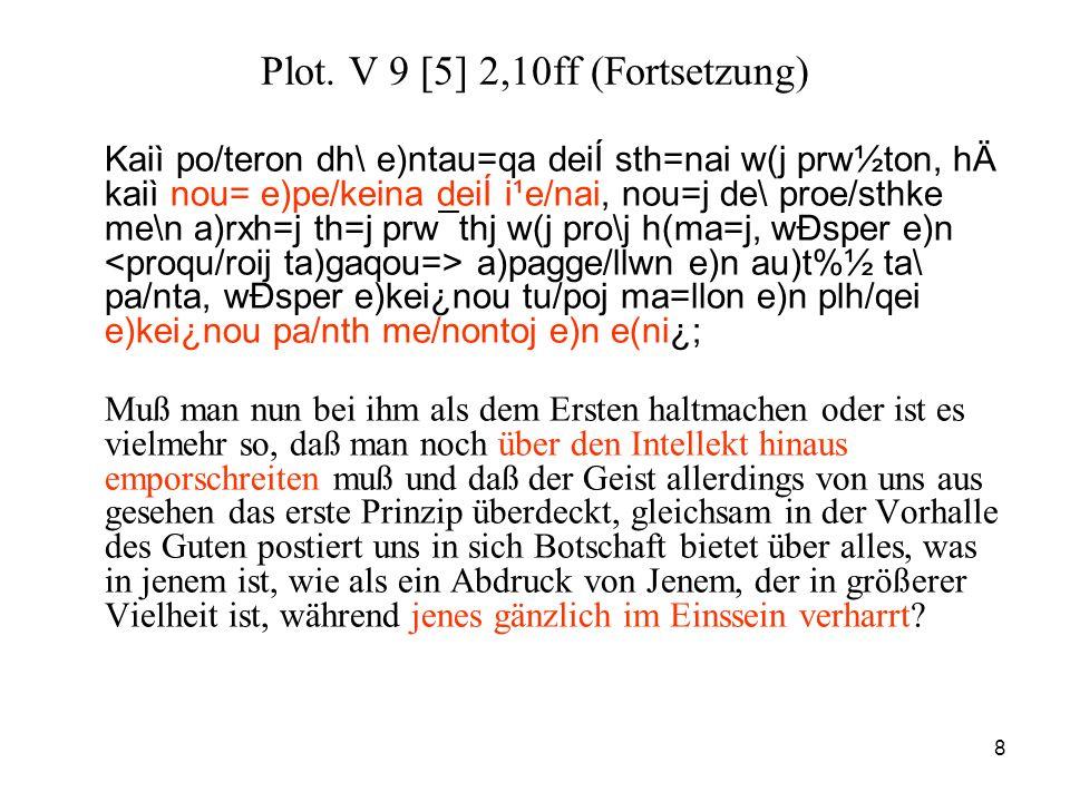 8 Plot. V 9 [5] 2,10ff (Fortsetzung) Kaiì po/teron dh\ e)ntau=qa deiÍ sth=nai w(j prw½ton, hÄ kaiì nou= e)pe/keina deiÍ i¹e/nai, nou=j de\ proe/sthke