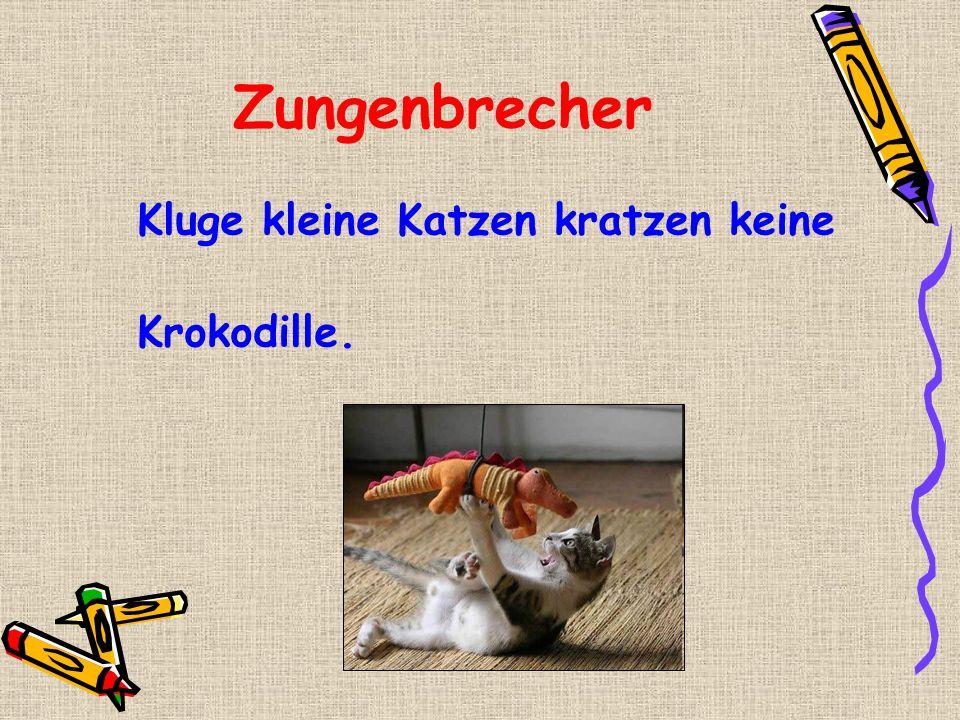 Zungenbrecher Kluge kleine Katzen kratzen keine Krokodille.