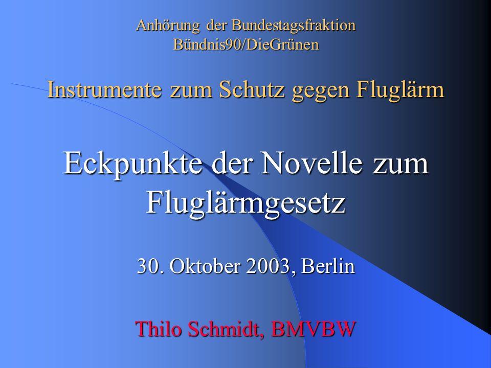 Anhörung der Bundestagsfraktion Bündnis90/DieGrünen Instrumente zum Schutz gegen Fluglärm Eckpunkte der Novelle zum Fluglärmgesetz 30.