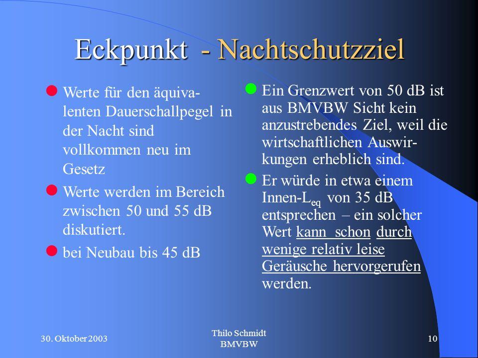 30. Oktober 2003 Thilo Schmidt BMVBW 10 Eckpunkt - Nachtschutzziel Werte für den äquiva- lenten Dauerschallpegel in der Nacht sind vollkommen neu im G