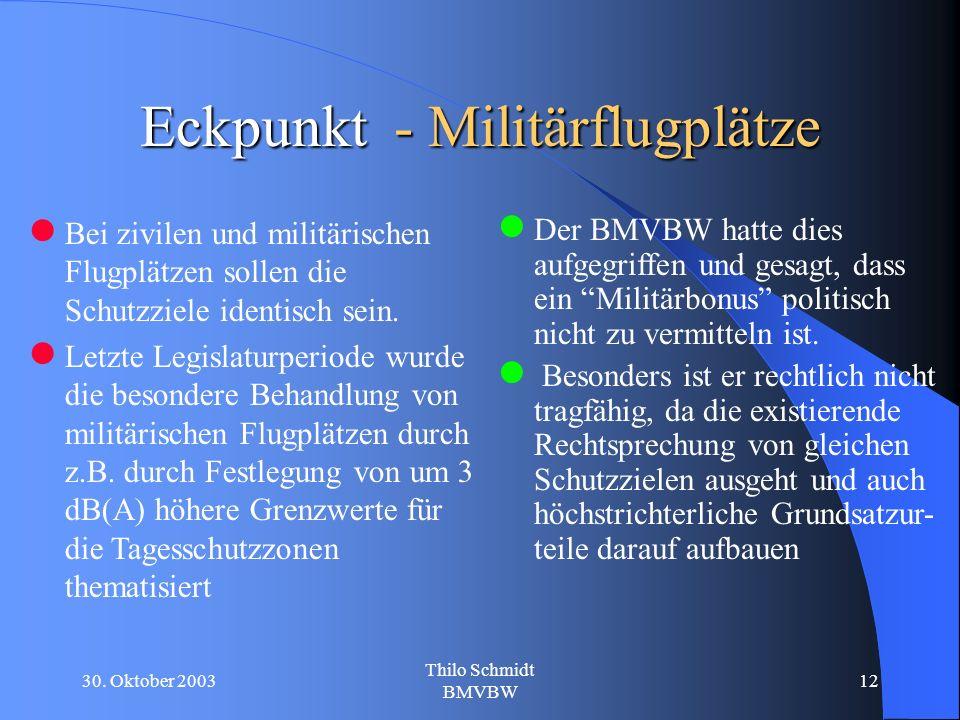 30. Oktober 2003 Thilo Schmidt BMVBW 12 Eckpunkt - Militärflugplätze Bei zivilen und militärischen Flugplätzen sollen die Schutzziele identisch sein.