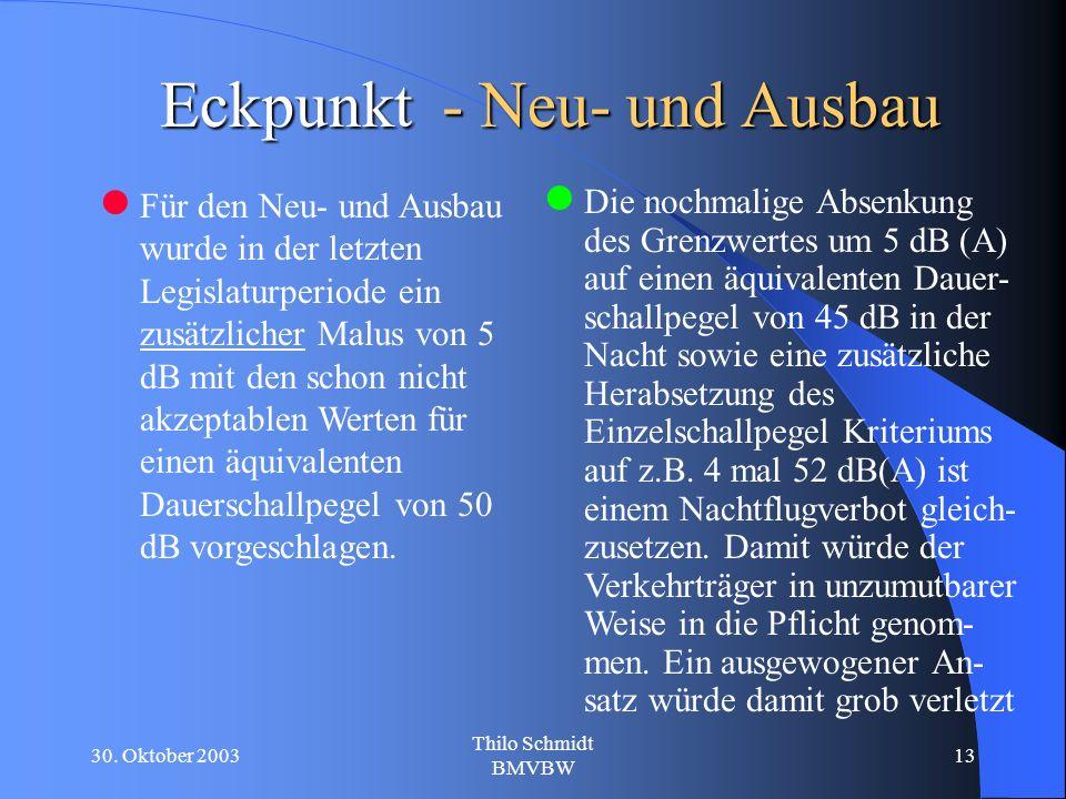 30. Oktober 2003 Thilo Schmidt BMVBW 13 Eckpunkt - Neu- und Ausbau Für den Neu- und Ausbau wurde in der letzten Legislaturperiode ein zusätzlicher Mal