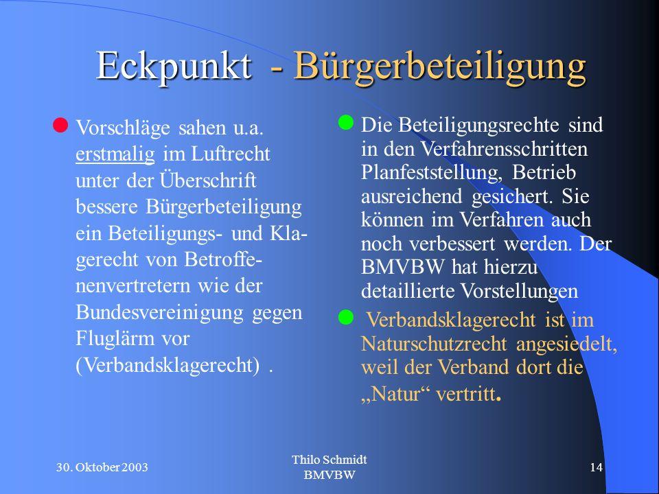 30. Oktober 2003 Thilo Schmidt BMVBW 14 Eckpunkt - Bürgerbeteiligung Vorschläge sahen u.a.
