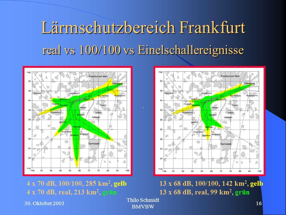 30. Oktober 2003 Thilo Schmidt BMVBW 16 Lärmschutzbereich Frankfurt real vs 100/100 vs Einelschallereignisse 4 x 70 dB, 100/100, 285 km 2, gelb 4 x 70