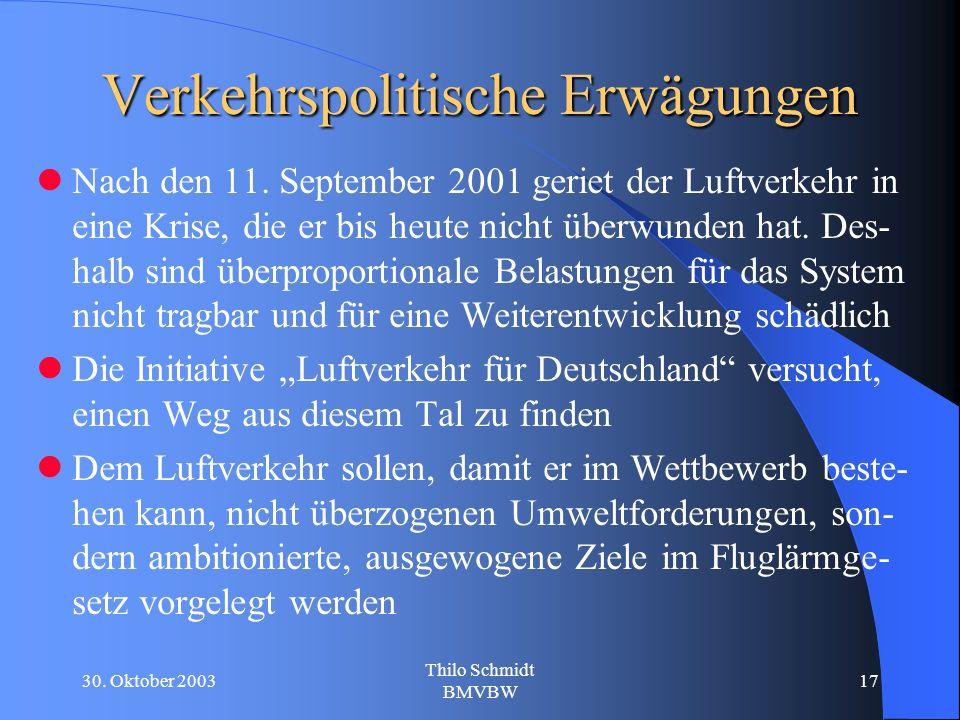 30. Oktober 2003 Thilo Schmidt BMVBW 17 Verkehrspolitische Erwägungen Nach den 11.