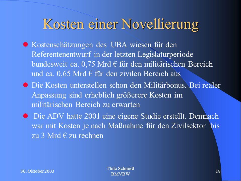 30. Oktober 2003 Thilo Schmidt BMVBW 18 Kosten einer Novellierung Kostenschätzungen des UBA wiesen für den Referentenentwurf in der letzten Legislatur