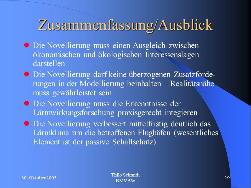 30. Oktober 2003 Thilo Schmidt BMVBW 19 Zusammenfassung/Ausblick Die Novellierung muss einen Ausgleich zwischen ökonomischen und ökologischen Interess