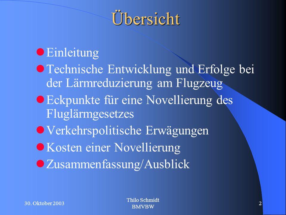 30. Oktober 2003 Thilo Schmidt BMVBW 2Übersicht Einleitung Technische Entwicklung und Erfolge bei der Lärmreduzierung am Flugzeug Eckpunkte für eine N