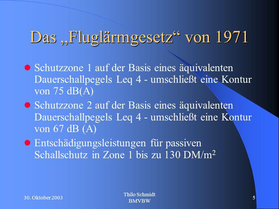 30. Oktober 2003 Thilo Schmidt BMVBW 5 Das Fluglärmgesetz von 1971 Schutzzone 1 auf der Basis eines äquivalenten Dauerschallpegels Leq 4 - umschließt