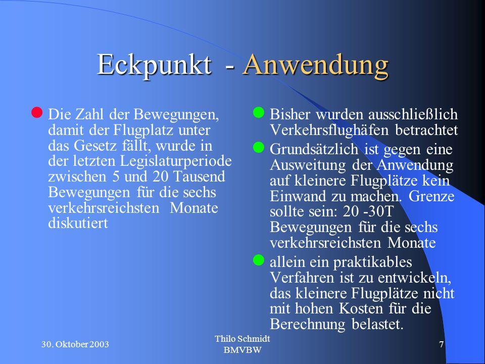 30. Oktober 2003 Thilo Schmidt BMVBW 7 Eckpunkt - Anwendung Die Zahl der Bewegungen, damit der Flugplatz unter das Gesetz fällt, wurde in der letzten