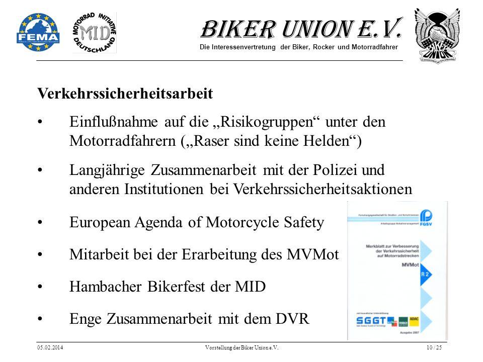 Biker Union e.V. Die Interessenvertretung der Biker, Rocker und Motorradfahrer 05.02.2014Vorstellung der Biker Union e.V.10 / 25 Verkehrssicherheitsar