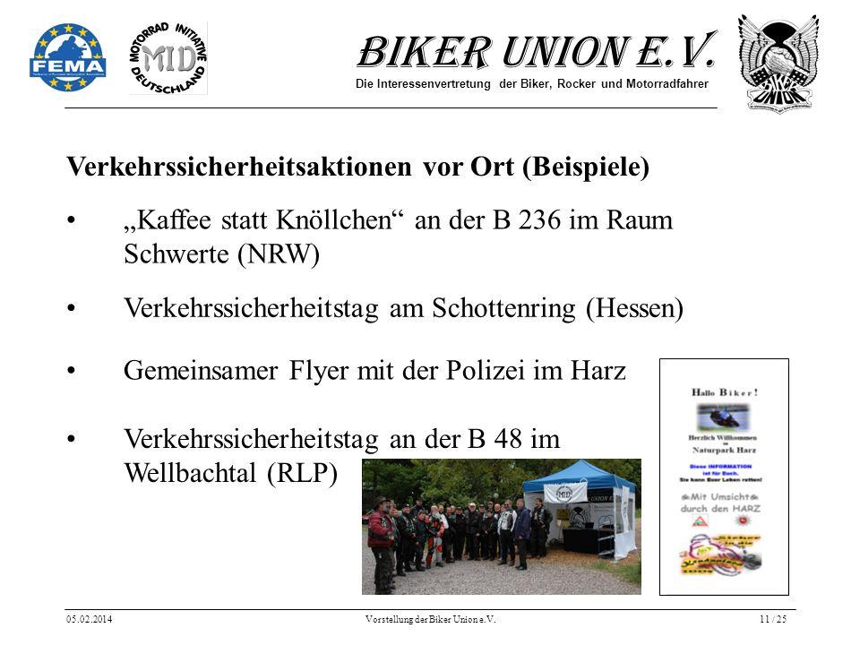 Biker Union e.V. Die Interessenvertretung der Biker, Rocker und Motorradfahrer 05.02.2014Vorstellung der Biker Union e.V.11 / 25 Verkehrssicherheitsak