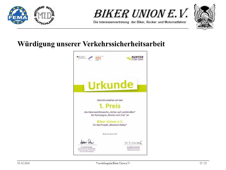 Biker Union e.V. Die Interessenvertretung der Biker, Rocker und Motorradfahrer 05.02.2014Vorstellung der Biker Union e.V.15 / 25 Würdigung unserer Ver