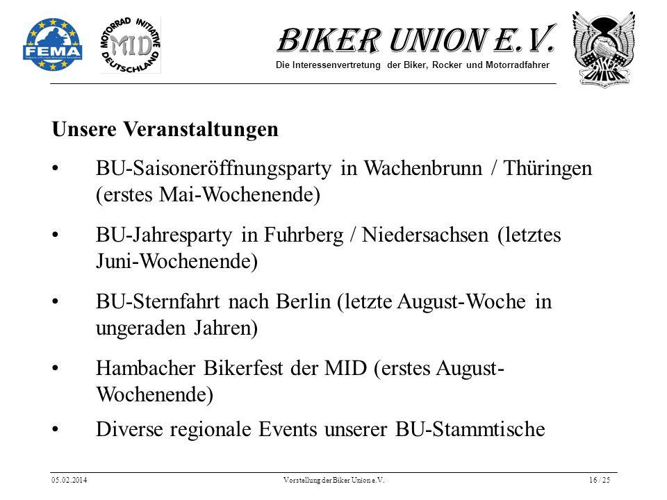 Biker Union e.V. Die Interessenvertretung der Biker, Rocker und Motorradfahrer 05.02.2014Vorstellung der Biker Union e.V.16 / 25 Unsere Veranstaltunge