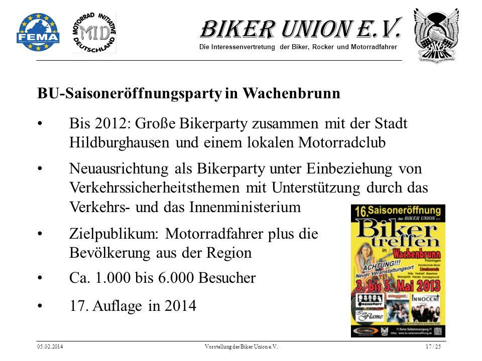 Biker Union e.V. Die Interessenvertretung der Biker, Rocker und Motorradfahrer 05.02.2014Vorstellung der Biker Union e.V.17 / 25 BU-Saisoneröffnungspa
