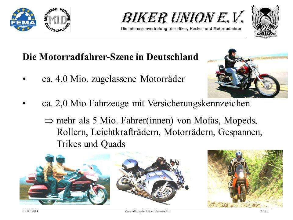 Biker Union e.V. Die Interessenvertretung der Biker, Rocker und Motorradfahrer 05.02.2014Vorstellung der Biker Union e.V.2 / 25 Die Motorradfahrer-Sze