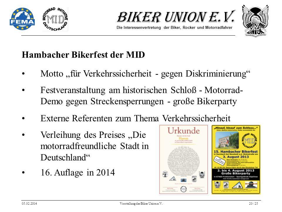 Biker Union e.V. Die Interessenvertretung der Biker, Rocker und Motorradfahrer 05.02.2014Vorstellung der Biker Union e.V.20 / 25 Hambacher Bikerfest d