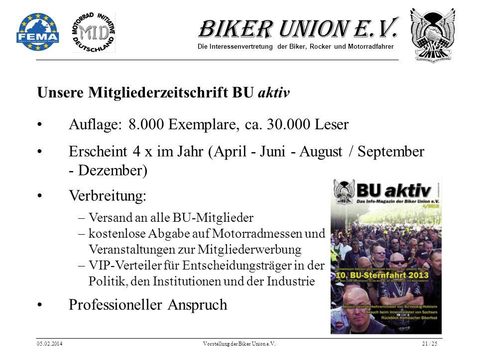Biker Union e.V. Die Interessenvertretung der Biker, Rocker und Motorradfahrer 05.02.2014Vorstellung der Biker Union e.V.21 / 25 Unsere Mitgliederzeit