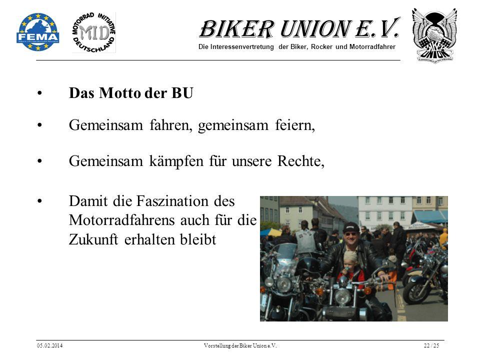 Biker Union e.V. Die Interessenvertretung der Biker, Rocker und Motorradfahrer 05.02.2014Vorstellung der Biker Union e.V.22 / 25 Das Motto der BU Geme