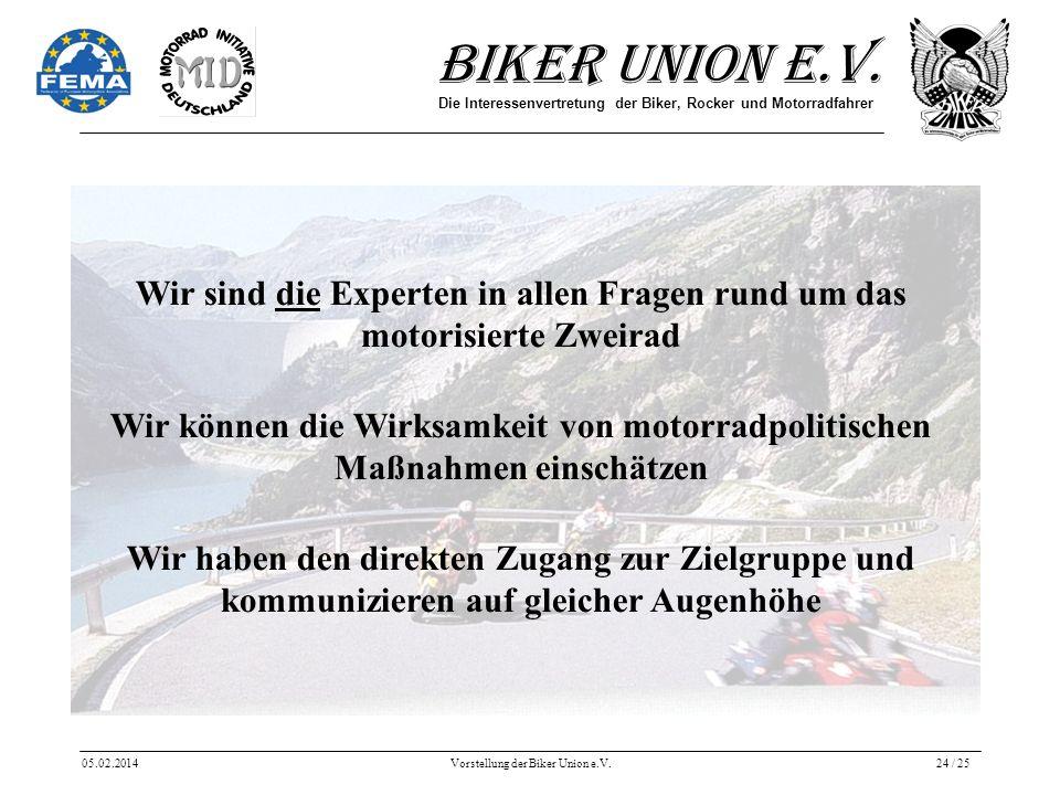 Biker Union e.V. Die Interessenvertretung der Biker, Rocker und Motorradfahrer 05.02.2014Vorstellung der Biker Union e.V.24 / 25 Wir sind die Experten