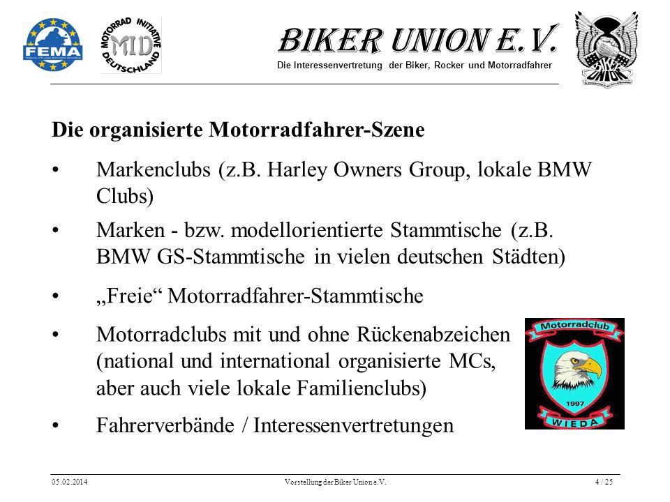 Biker Union e.V. Die Interessenvertretung der Biker, Rocker und Motorradfahrer 05.02.2014Vorstellung der Biker Union e.V.4 / 25 Die organisierte Motor