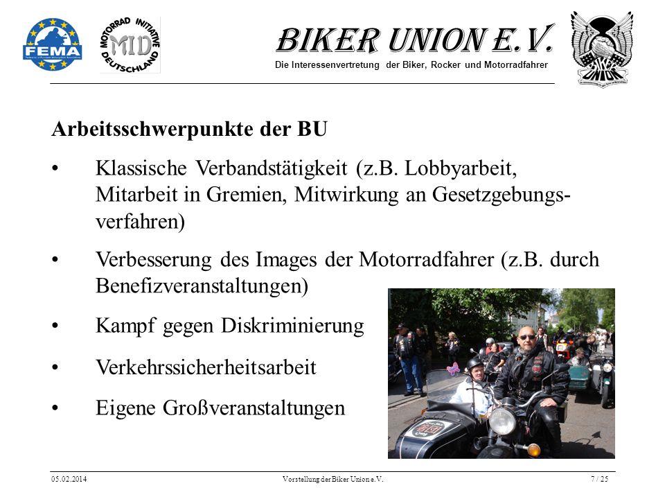 Biker Union e.V. Die Interessenvertretung der Biker, Rocker und Motorradfahrer 05.02.2014Vorstellung der Biker Union e.V.7 / 25 Arbeitsschwerpunkte de