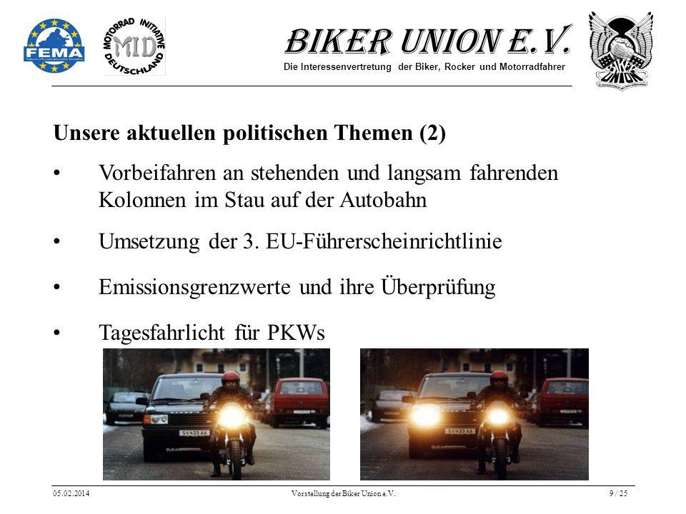 Biker Union e.V. Die Interessenvertretung der Biker, Rocker und Motorradfahrer 05.02.2014Vorstellung der Biker Union e.V.9 / 25 Unsere aktuellen polit