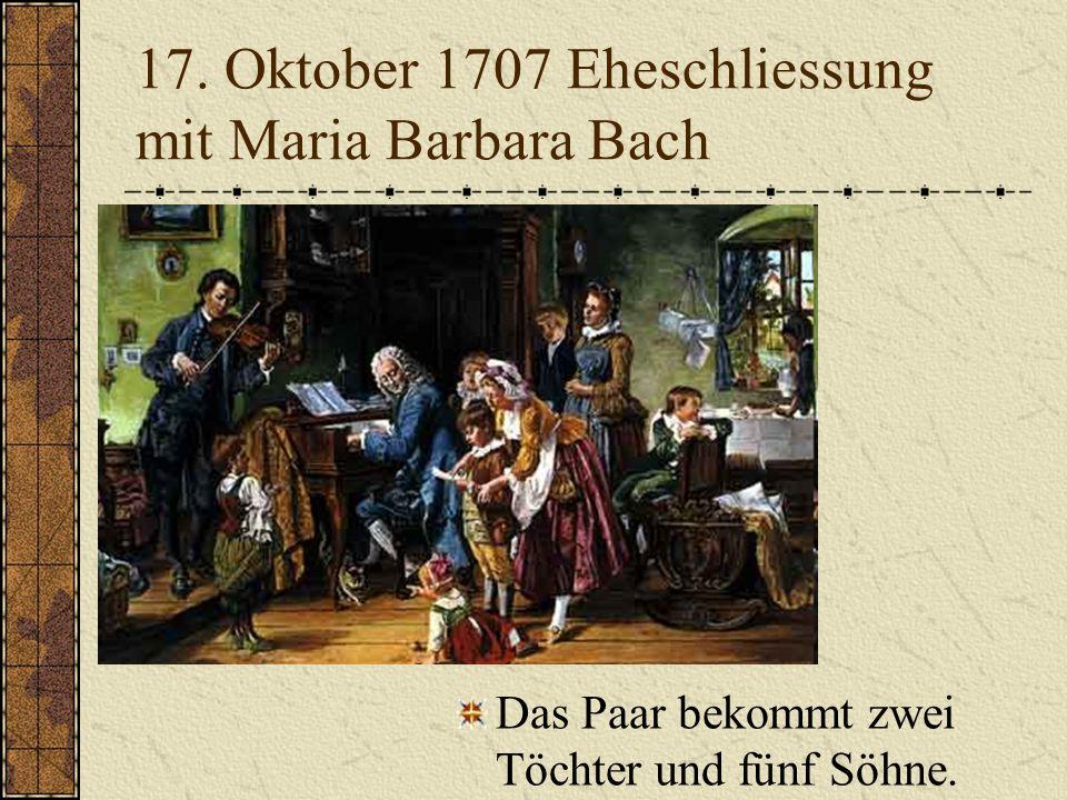 1707 -1708 Mühlhausen Werke für die Orgel: Choralvariationen Fugen Präludium Kantaten Meinungsstreit zwischen Pietisten und orthodoxen Lutheranern