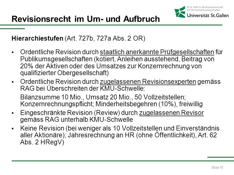 Slide 16 Revisionsrecht im Um- und Aufbruch Unternehmensrechtliche Entwicklung Es ist für die Stufung der Anforderungen an die Revision nicht mehr die Rechtsform, sondern es sind die Grössenkriterien des Unternehmens relevant: Bilanzsumme (10 Mio.)KMU-Schwelle Umsatz (20 Mio.)Verpflichtung zur ordentlichen Revision Vollzeitstellen (50) Dies wird auch im Rechnungslegungsrecht kommen (Art.