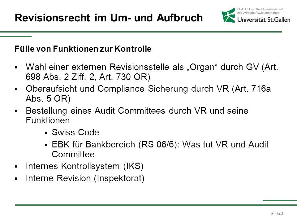 Slide 3 Revisionsrecht im Um- und Aufbruch Fülle von Funktionen zur Kontrolle Wahl einer externen Revisionsstelle als Organ durch GV (Art.