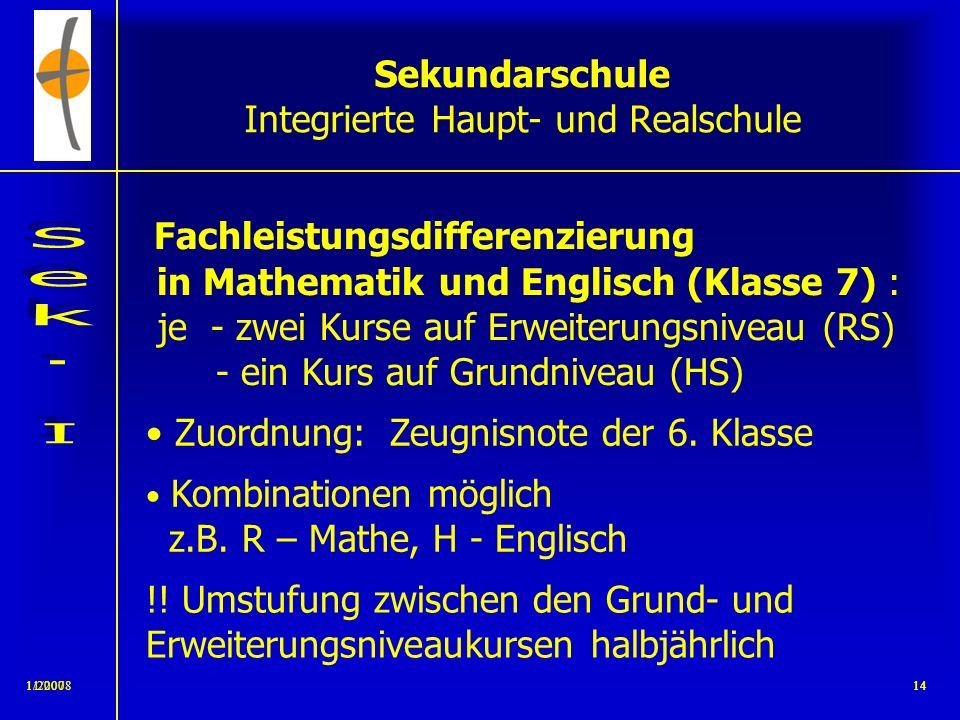 11/2008131/200713 Sekundarschule Integrierte Haupt- und Realschule Der Unterricht gliedert sich in 3 Bereiche: 1.Gemeinsamer Unterricht im Klassenverb