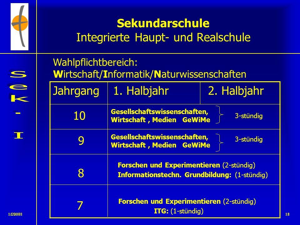 11/2008171/200717 Sekundarschule Integrierte Haupt- und Realschule 10. Klasse 9. Klasse 8. Klasse 7. Klasse 6. Klasse 5. Klasse Integration in den Jah