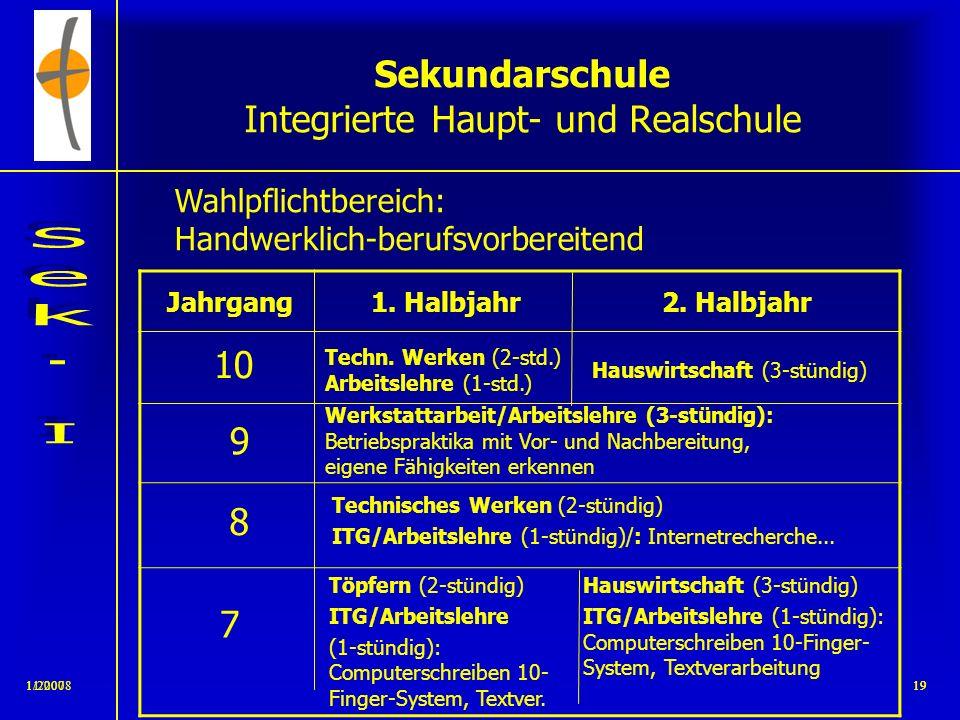 11/2008181/200718 Sekundarschule Integrierte Haupt- und Realschule Wahlpflichtbereich: Wirtschaft/Informatik/Naturwissenschaften Jahrgang1. Halbjahr2.