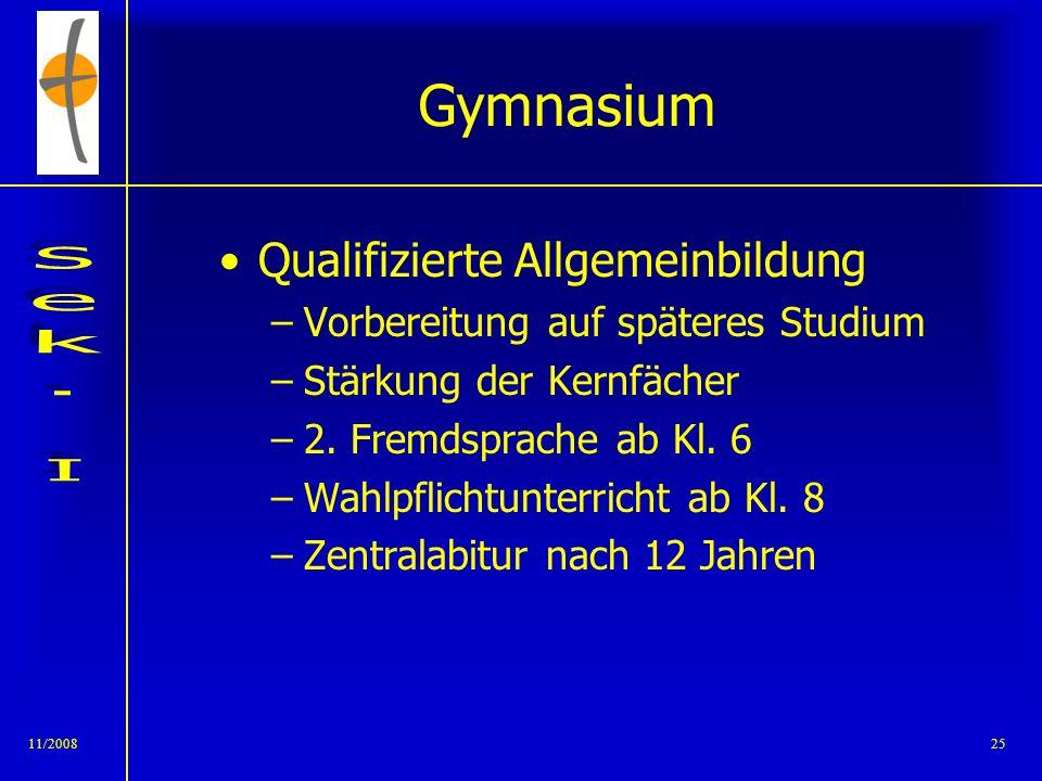 11/200824 Gymnasium!? Gute Grundkenntnisse Konzentrations- und Lernfähigkeit Selbstständigkeit Abstraktionsvermögen