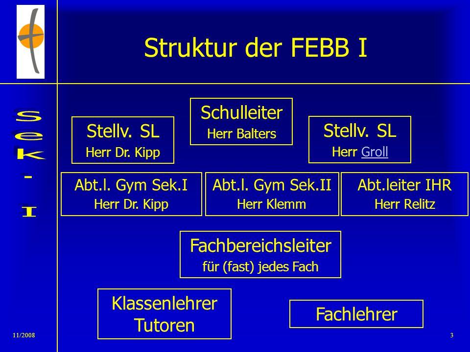11/20082 Übersicht FEBB allgemein –Organisationsstruktur –Bläserklassen Unterricht –Jahrgangsteams –Sozial- und Methodenkompetenz Schulformen – IHR –G