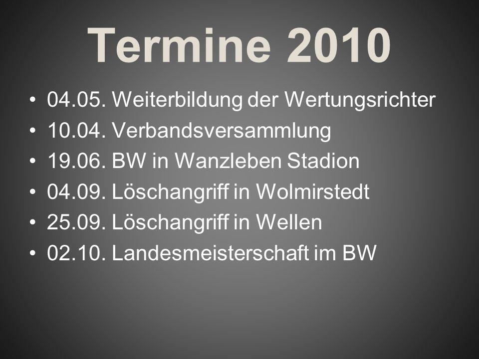 Termine 2010 04.05. Weiterbildung der Wertungsrichter 10.04. Verbandsversammlung 19.06. BW in Wanzleben Stadion 04.09. Löschangriff in Wolmirstedt 25.