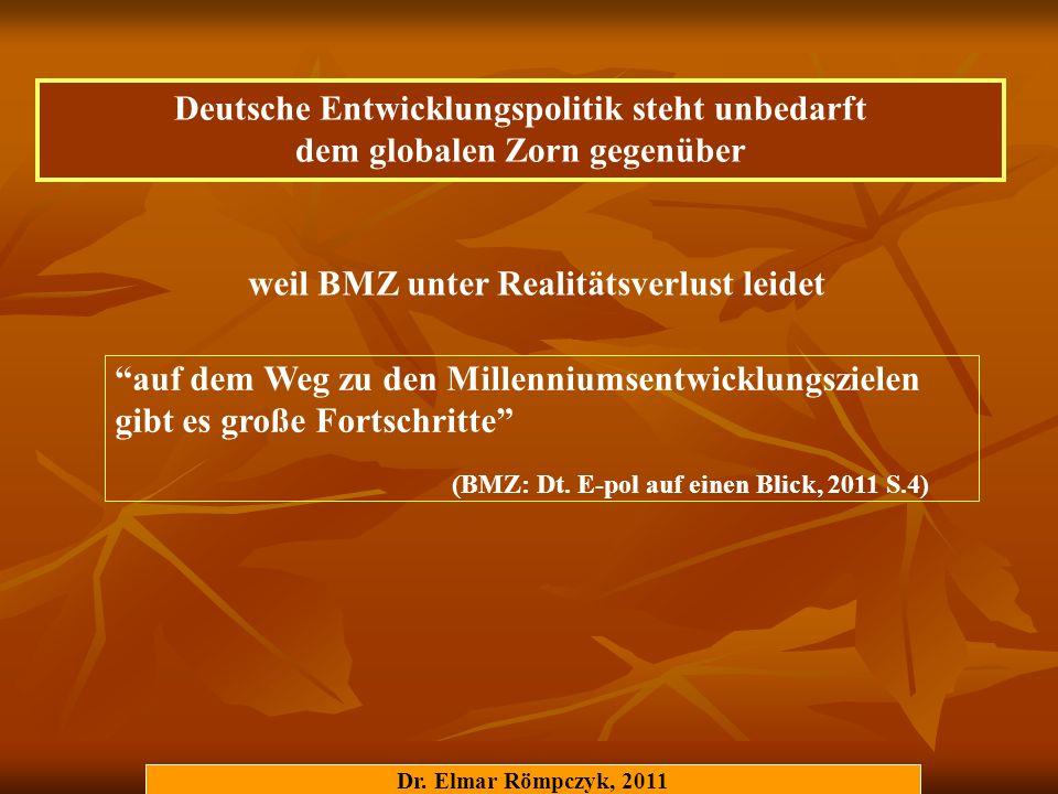 Dr. Elmar Römpczyk, 2011 auf dem Weg zu den Millenniumsentwicklungszielen gibt es große Fortschritte (BMZ: Dt. E-pol auf einen Blick, 2011 S.4) weil B