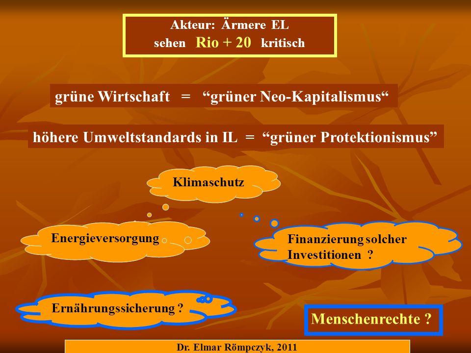 Dr. Elmar Römpczyk, 2011 grüne Wirtschaft = grüner Neo-Kapitalismus höhere Umweltstandards in IL = grüner Protektionismus Akteur: Ärmere EL sehen Rio