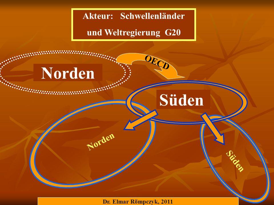 Dr. Elmar Römpczyk, 2011 Norden Süden Norden OECD Akteur: Schwellenländer und Weltregierung G20